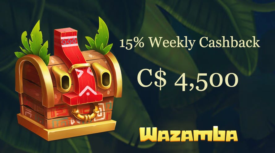 The 15% cashback up to C$ 4,500 is all yours with Wazamba