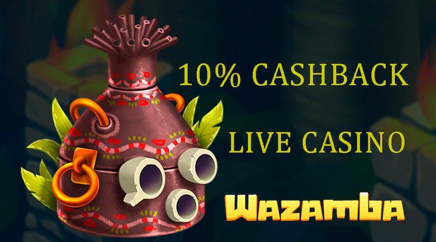 Get 10% cashback up to C$225 with Wazamba Live Casino
